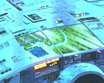 A close-up of one of the window/skylights of 'Odyssey' from 'Ulysses 31'. It's a big ship.