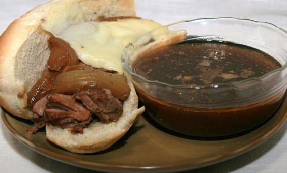 Crock Pot French Dip Sandwiches Recipe -super simple arm roast, au jus mix, and onion soup mix!