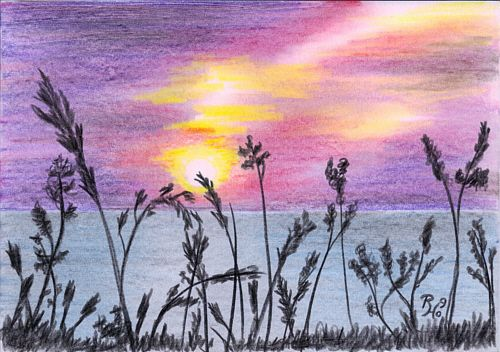 Sunset over a Cornwall Beach – Drawing in Coloured Pencil ...