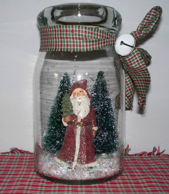 Waterless Christmas snow globe with Santa ornament  bottle brush