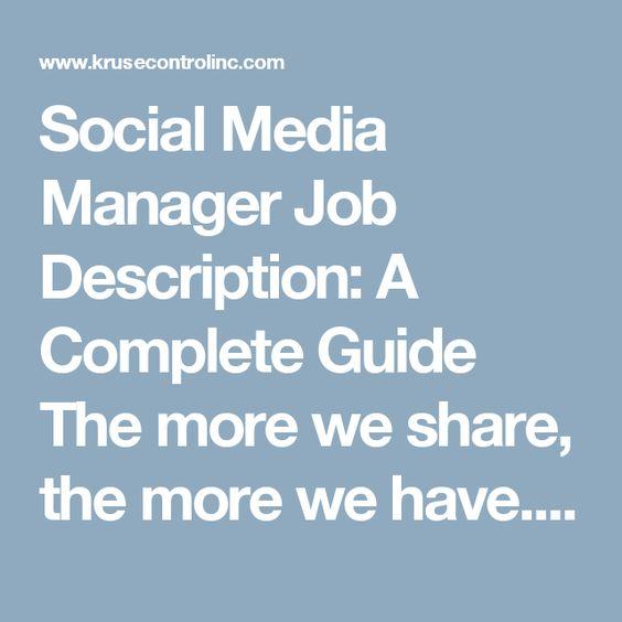 Social Media Manager Job Description  Paq    Job