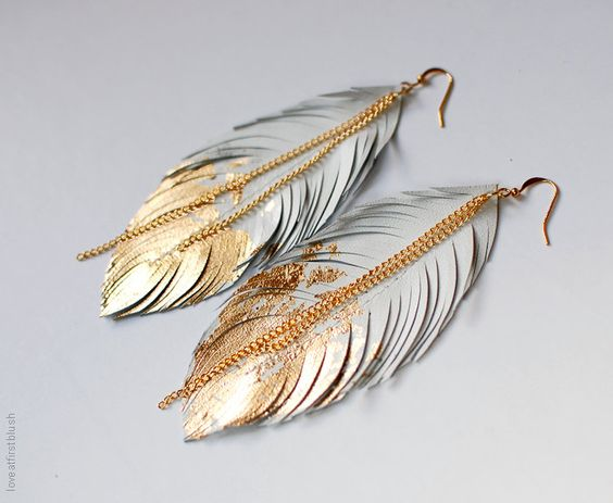 Leather Feather Earrings Dipped in Gold by Sabrina Chin