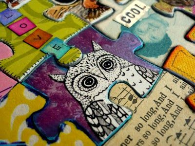 Altered Puzzle Art! This girl is an amazing artist.  You should check out her entire blog!