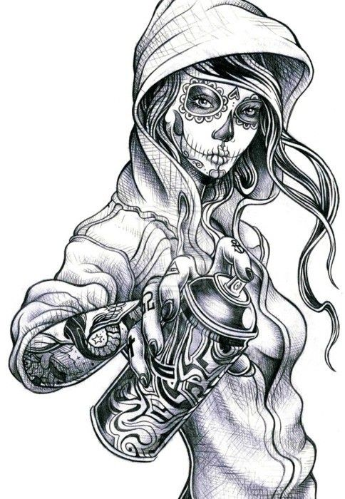 Sugar Skull Lady Drawing | Sugar Skull Drawings http://www ...