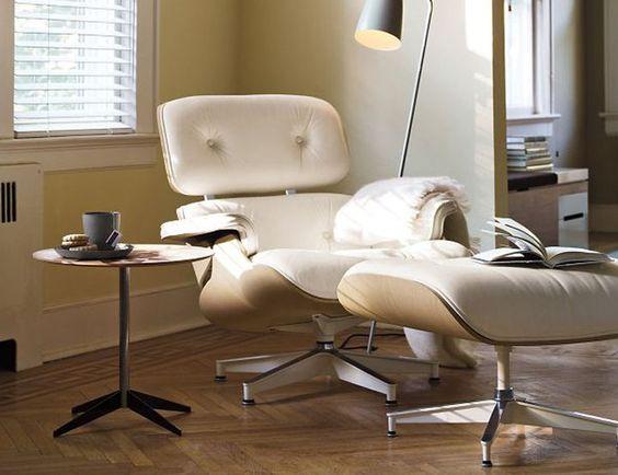 Lounge chair / Arquitecto Charles Eames y Diseñadora Ray Eames , combinación madera clara y cuero tiza