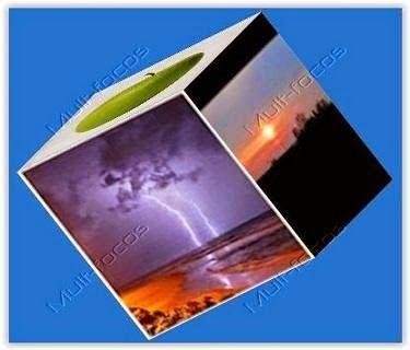 Cubo de imagens animado  Olá e bem-vindo ao Mult-focos. Vamos ver neste post como adicionar um cubo de imagens animado no seu blog. Este ornamento em forma de cubo é composto por seis imagens 200x200 pixels e pode ser útil para você destacar imagens em seu blog.