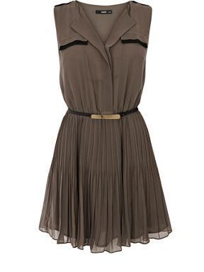 Oasis Pleated military shirt dress