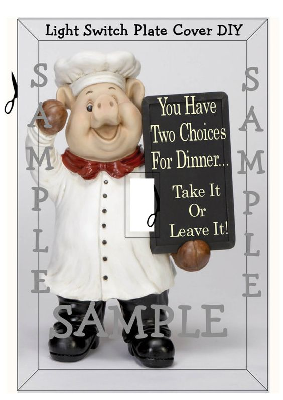Pig Chef Take It Or Leave It Kitchen Decor Light Switch Cover Instant Digital