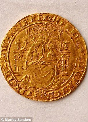 a gold half sovereign dated 1544 and bearing the image of Henry VIII. It represented a month's pay for a sailor at the time