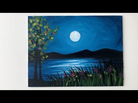 Moonlight Night Landscape Acrylic Painting For Beginners Youtube