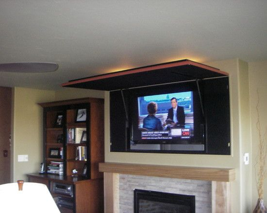 hidden flat screen tv design pictures remodel decor and ideas how to hide a flat screen. Black Bedroom Furniture Sets. Home Design Ideas