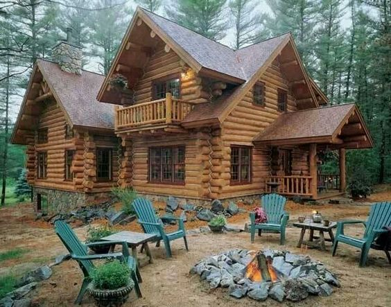 Lodge cabin campfire adirondack chairs wood forest for Country log homes