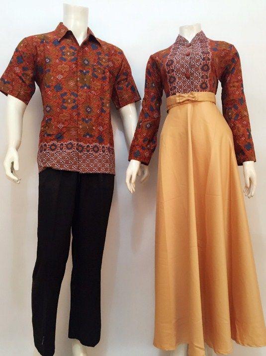 Aneka Model Baju Gamis Batik Muslim Kombinasi Warna Polos