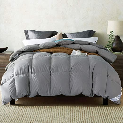 Warmkiss White Goose Down Comforter Grey White Hypoallergenic Duvet Insert With Corner Ties 100 Soft Cotton Cover Dow Down Comforter Comforters Down Blanket