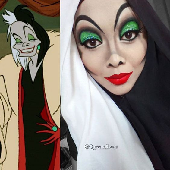 Malaysian makeup artist Saraswati uses her hijab and makeup to turn herself into actual Disney characters. | Cruella DeVill