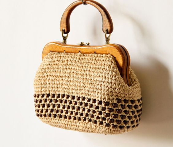 60s Woven Purse, Wood Handle Beaded Raffia Mod Preppy Tan brown neutral natural boho minimalist Made in Japan bag, rustic straw handbag on Etsy, $55.29 CAD