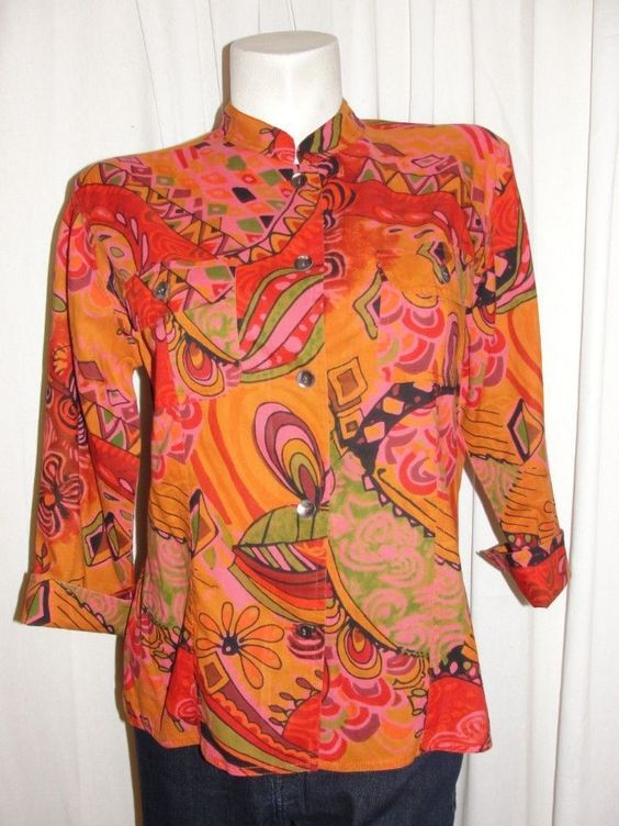 CHICO'S Top Womens Multicolored Cotton Artsy Button Down Shirt 3/4 Slv Size 1 M #Chicos #ButtonDownShirt #WeartoWorkCasual