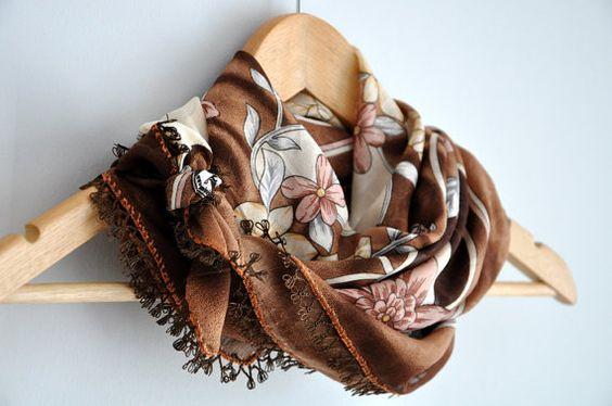 Brown Floral Lacework Cotton Scarf Shawl dreamt by zuzusworld, $39.00
