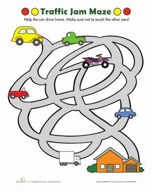Traffic Maze | Pinterest | Maze, Kindergarten and Worksheets
