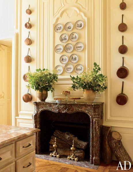 Kitchen Mantel:  Timothy Corrigan's Château du Grand-Lucé, Loire