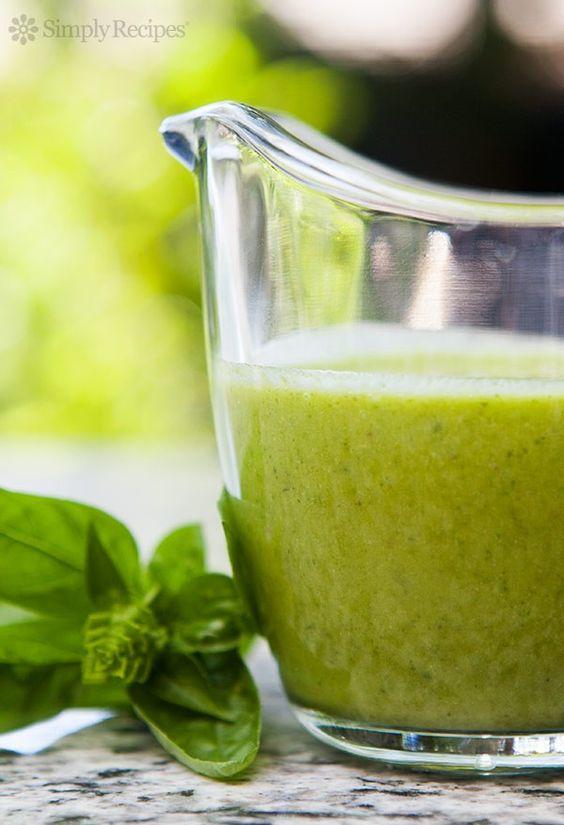 Basil Vinaigrette ~ Have extra garden basil? Make a quick basil vinaigrette for a salad dressing or sauce for chicken, fish, potatoes, or pasta. ~ SimplyRecipes.com
