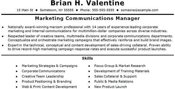 marketing communications resumes