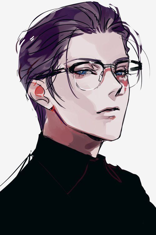 Purple Hair Anime Guy Epic Art Anime Guys With Glasses Anime Drawings Manga Illustration
