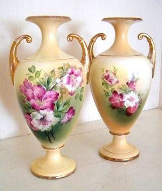 Victorian Floral Amphoras Vases