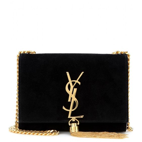 Saint Laurent - Classic Small Monogramme suede shoulder bag - Timeless elegance is a savvy style investment. Featuring a gold-toned chain strap, tassel and signature YSL logo, the 'Classic Monogramme' shoulder bag embodies the traditional Saint Laurent aesthetic. This black suede style is a refined finishing touch to an evening ensemble. seen @ www.mytheresa.com
