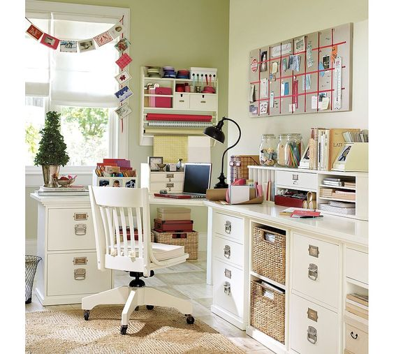 I am in love with white home offices. I particularly love the desk and chair in this one. I believe this is from Pottery Barn.