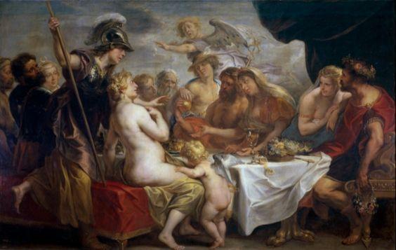 Óleo en lienzo en el que se representa a Eris ofreciendo la manzana de la discordia en la boda de Tetis y Peleo. Pintura de Jacob Jordaens. 1633. Museo del Prado
