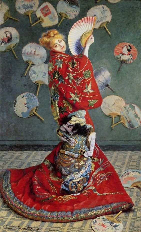 """Madame Monet en Costume Japonais"".  ""Madame Monet Trajando um Kimono"".  (1875). (by Claude Monet)."