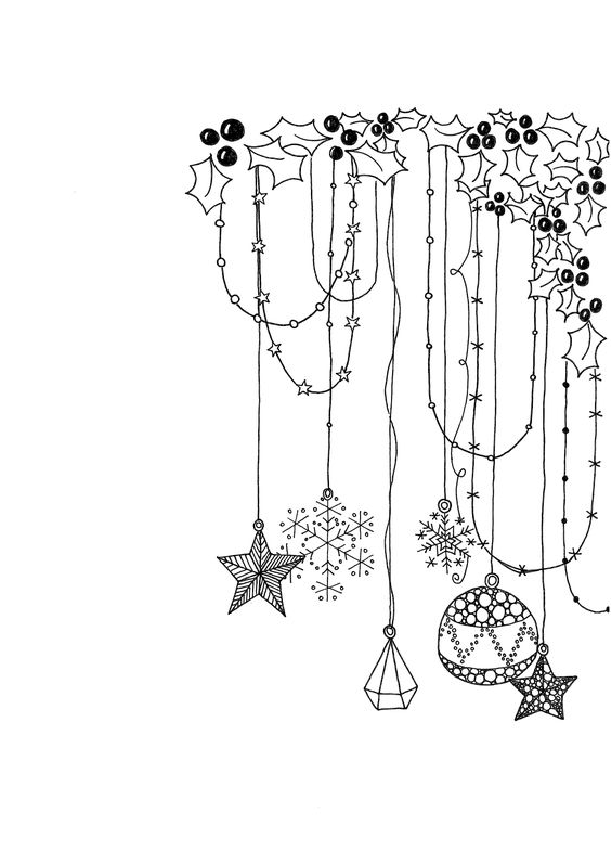 Line drawing Christmas decorations garland doodles