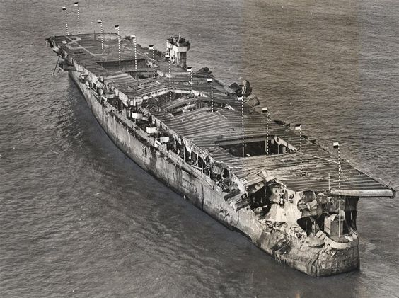 USS Independence in San Fran Bay, 01/1951. Damage from Bikini Atoll A-Bomb tests. Credit @NatlParkService Collection