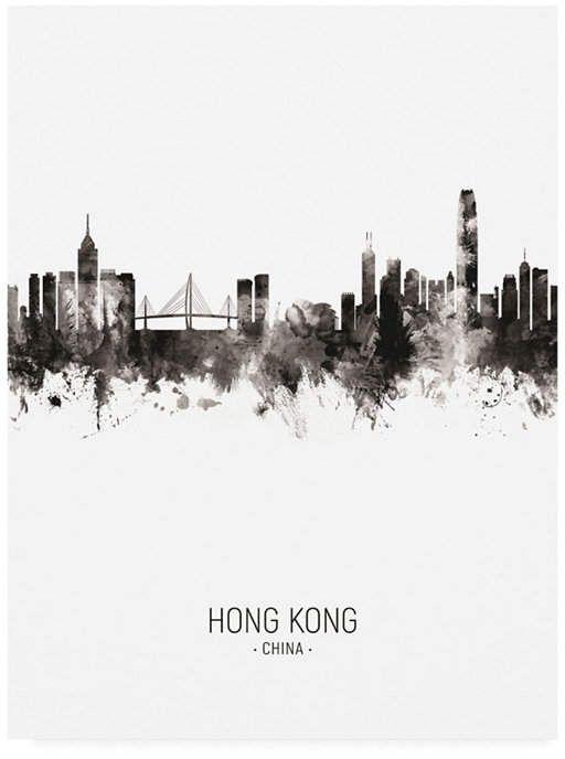 Trademark Global Michael Tompsett Hong Kong Skyline Portrait Ii Canvas Art 19 5 X 26 Reviews All Wall Decor Home Decor Macy S With Images Landscape Poster Hong Kong Skyline Drawing