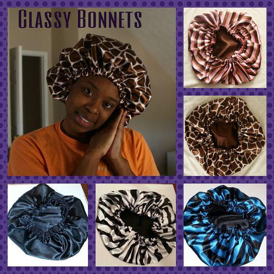 Satin Hair Bonnet by ClassyBonnetsandBows on Etsy, $20.00