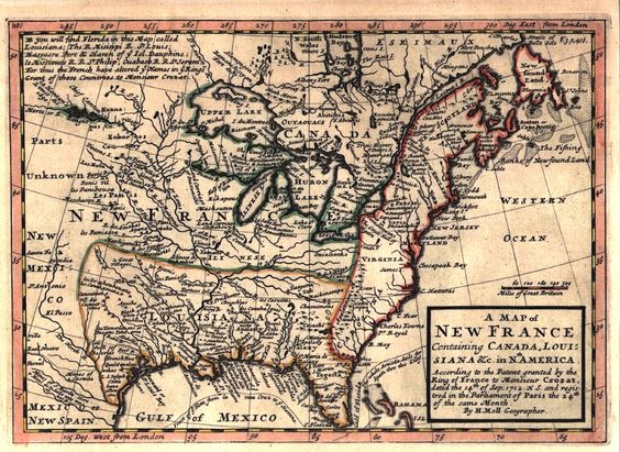 A 1717 map of New France showing Canada Louisiana and Frances – Map Showing Canada