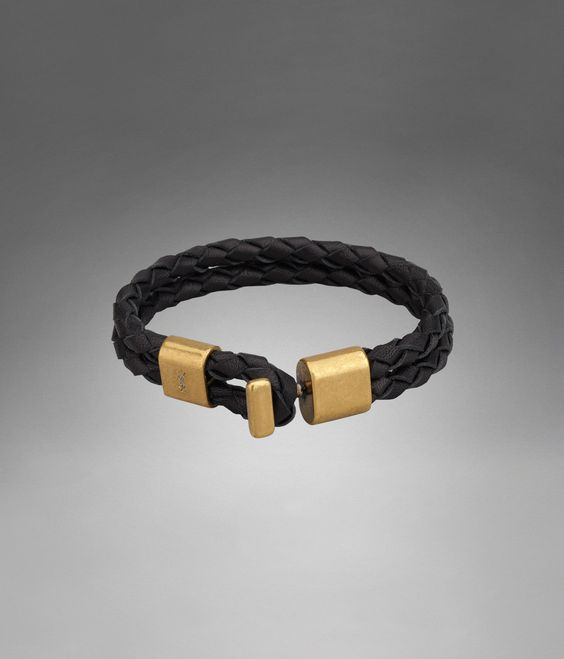 ysl crossover bag - YSL Braided Double Strap Bracelet in Black Leather - Jewelry ...