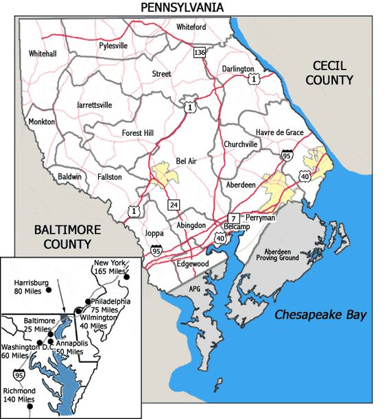 Map Of Harford County Maryland: Map Of Harford County Maryland At Slyspyder.com
