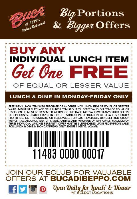 Buca Offers BOGO Lunch