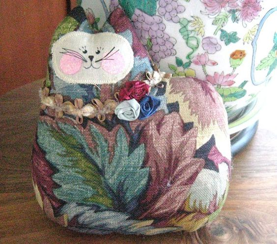 Cat Pillow Doll Cloth Doll 7 inch Leaves by CharlotteStyle on Etsy, $12.00