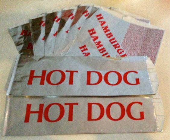 Hot Dog Foil Wrapper Bags