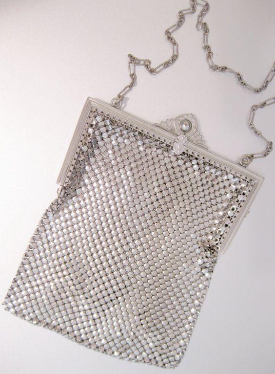 Art Deco Mesh Purse Silver Handbag Designer by mindfulresource, $175.00