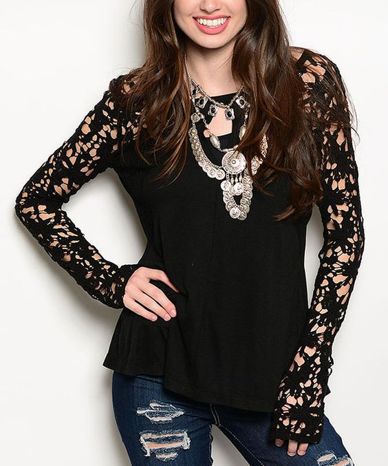 Look at this Black Lace-Sleeve Split-Back Top on #zulily today!