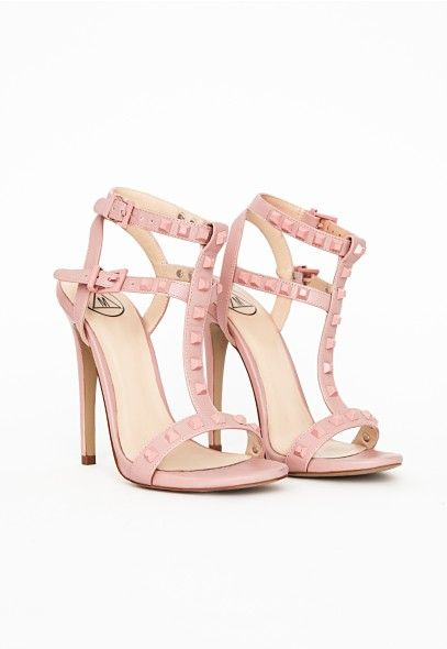 Studded Strappy Sandal Pale Pink - Shoes - High Heels - Missguided ...