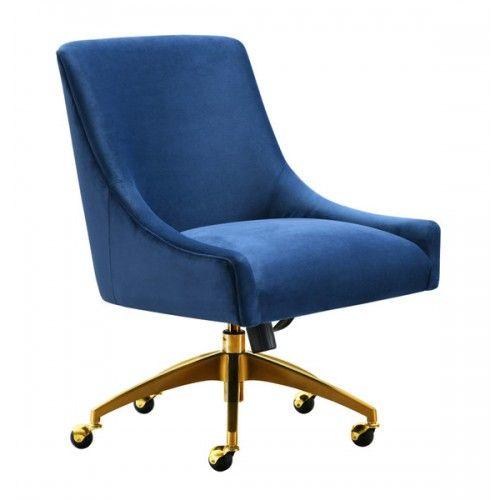 Blue Velvet Swivel Office Desk Chair Gold Base Wheels Modern