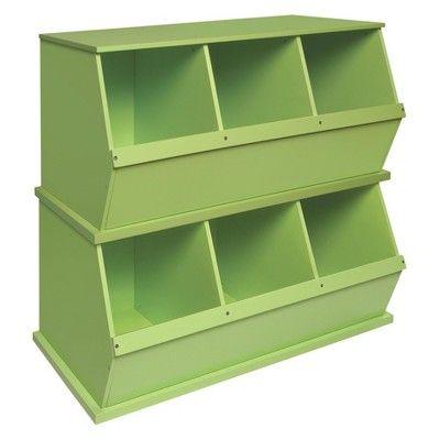 Badger Basket Three Bin Stackable Storage Cubby Green Storage Bin Shelves Cubby Storage Stackable Storage