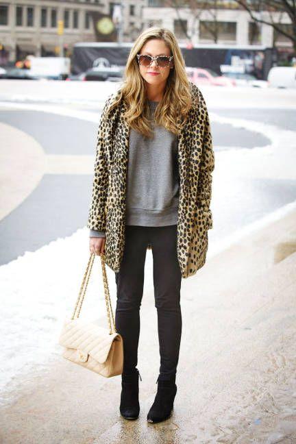 leopard print coat + grey sweater