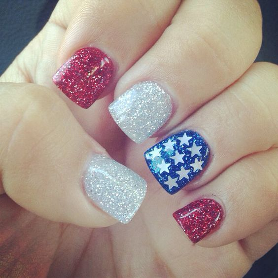4th of July nails - Love all the glitter but I wouldn't do all those stars! Maybe just one star.: