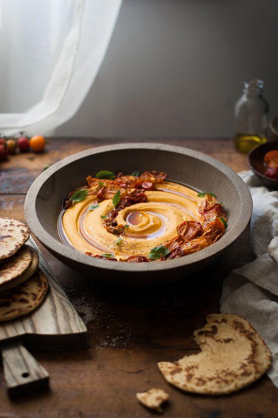 Slow-roasted Tomato + Garlic & Basil Hummus